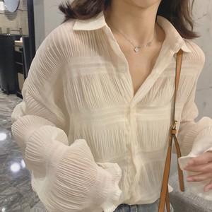 【トップス】定番アイテム透け感ギャザー飾り合わせやすいシャツ