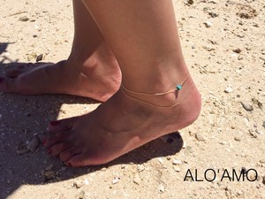 turquoise cube anklet