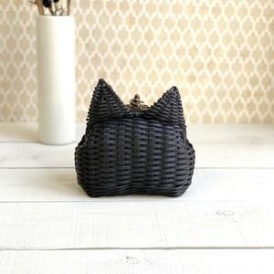 【受注制作】かごバッグ - コネコ(ブラック)