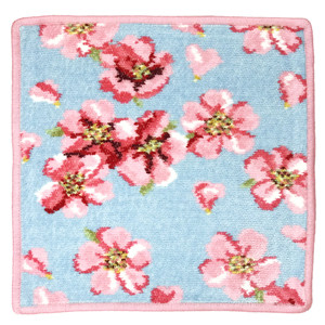 FEILER(フェイラー)  純正ビニール袋付 フェイラー ハンカチ  タオルハンカチ 25cm 桜 チェリーブロッサム ブルー