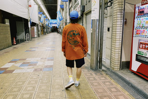 Pizza man  L/S Tee【Dark orange】
