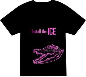Tシャツ - ワニ(黒)