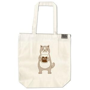 【ポケット付トートバッグ】ネコおっさん ビール