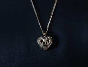 Dior Heart Rhinestone Mini Logo Necklace