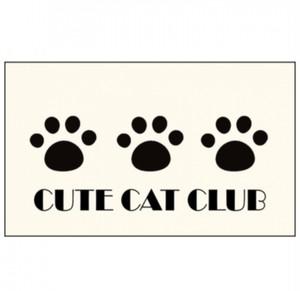 CUTE CAT CLUB 玄関マット Sサイズ(75×45cm)オフホワイト