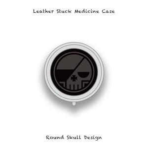 Leather Stuck Medicine Case ( Small Round Shape ) / Round Skull Design 001