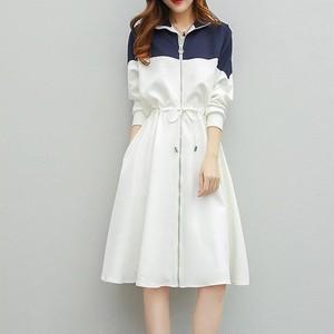 「ワンピース」気質アップ韓国風ルーズ切り替え配色ウエスト長袖折り襟カジュアルワンピース