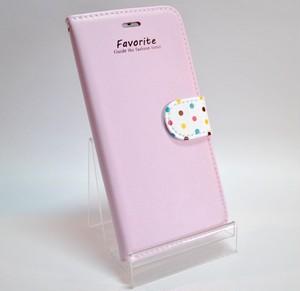 iPhone6 4.7インチ用 手帳型ケース ピンク×カラフルドット 早い者勝ち!!在庫処分