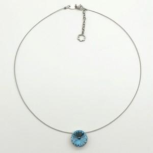 チョーカー ネックレス 一粒石 アクアマリン KRiKOR ドイツ製 Choker Necklace One Grain Stone Aquamarine