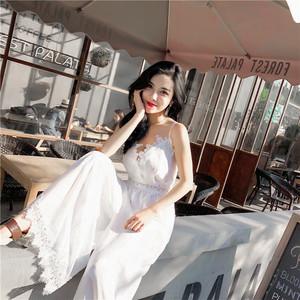 シフォンレース素材 ドレス風 オールインワン 上下セット ドレス ワイドパンツワンピ リゾート 夏 2次会 パーティ