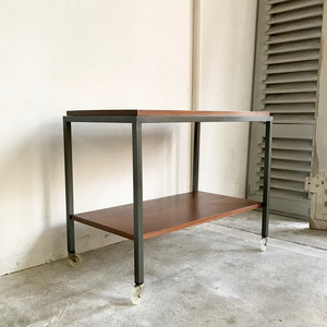 Teak & Metal Frame Caster Shelf / Side Table 70's オランダ