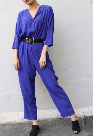 80's bluish purple all-in-one