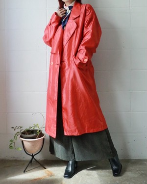 coral red spring trench coat