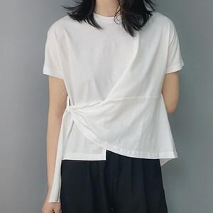 【トップス】カジュアル切り替え不规则ボウタイTシャツ19967431