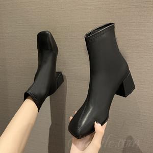 【シューズ】韓国系ブロックヒールミドルヒール暖かいスクエアトゥショート丈ブーツ38316074