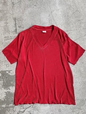 vintage pleats vneck tops -red-