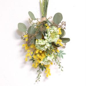 【アーティフィシャル】ミモザとスカビオサとユーカリの春スワッグ(壁・ドア飾り)