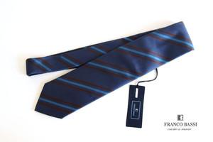 フランコバッシ|Franco Bassi|レジメンタルシルクネクタイ|ブルー