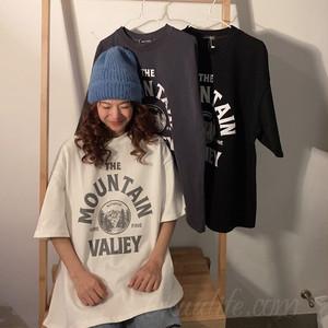 【トップス】キャンパスプリントラウンドネックアルファベットTシャツ43176251