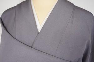 身幅ゆったり 色無地 ちりめん 正絹 一つ紋 鳩羽色 紫 362