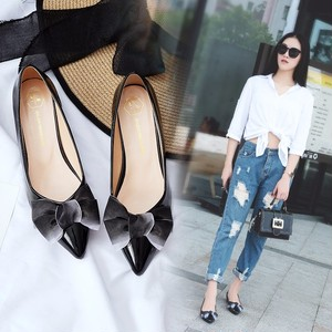 【pumps】 autumn 2018 new  Korean bow pointed toe low-heel pumps