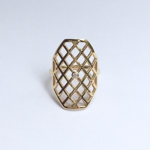 Octagon Ring with a Diamond / K18YG