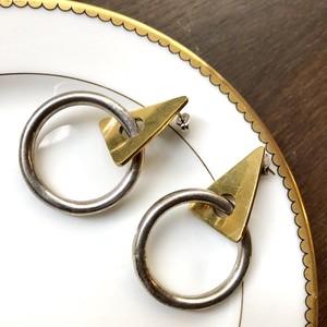 Vintage Modernist Triangle Hoop Pierced Earrings / フープ三角モチーフメタルピアス