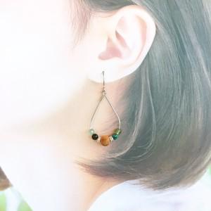 【s654】屋久杉×天然石ドロップピアス【絆を深める】