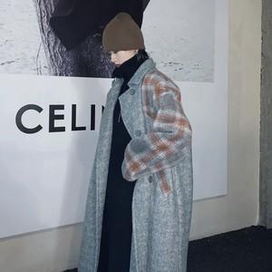 check sleeve long coat