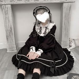 ゴスロリ ロリィタ レトロワンピ リボン ネックギャザー フリル スカート 膝下丈 病みかわいい オルチャン 10代 20代