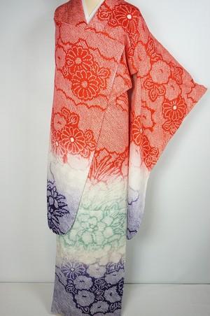 未使用 総絞り 振袖 京鹿の子絞り 牡丹 椿 正絹 赤 白 紫 024