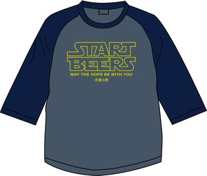 START BEERS Tシャツ ヘザー&ネイビー〔片面〕【3/4スリーブ】