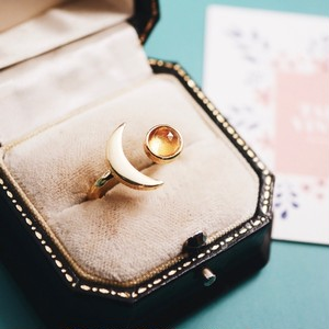 シトリン 月と星の指輪