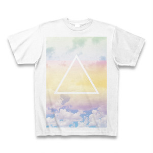 虹色とミニマル図形Tシャツ(三角と空と雲と)