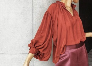 Shirring neckline blouses / terracotta