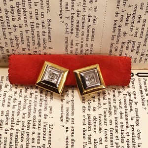 Yves Saint Laurent square stone earrings