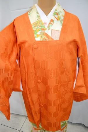 ポコポコ亀甲柄☆オレンジの道行コート【裄大きめ】