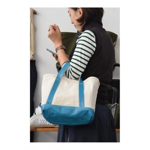 Simva 161-0034 Canvas-Leather Tote Small Natural/Turquoise