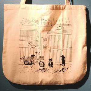【Kamome】トートバッグ 猫と長屋