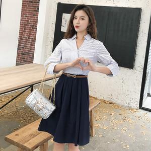 【ワンピース】夏新作ファッション切り替え着痩せ韓国風Vネックシャツワンピース