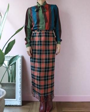 checked fringe wool skirt