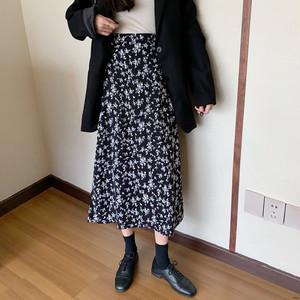 【ボトムス】絶対流行 プリント 着やせ レトロ ハイウエスト Aライン 合わせやすい スカート44407257