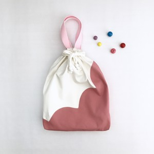 【kids】お着替え・体操服袋 □■ スカラップ切り替え・ピンク □■ 入園入学グッズ