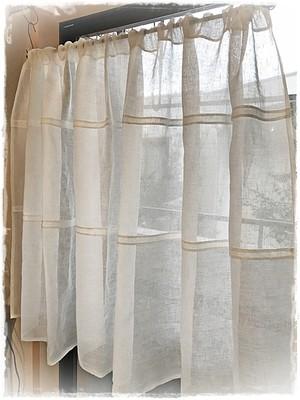 ♥リネンガーゼ*広幅デザインⅡポケットカーテン【ミドル】W186×H93 ♦現品限りセール中 ♥