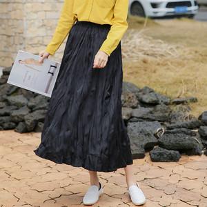【bottoms】ゴムウエスト入り無地キャザー飾りAラインストレートスカート