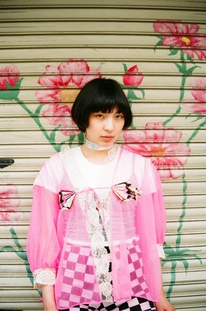post-vintage 2019 ss  Embroidery by Sawako Ninomiya / US vintage see through tops(pink)