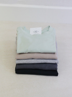 カラーロングTシャツ【ミント.ベージュ.ライトグレー.ダークグレー.ブラック】