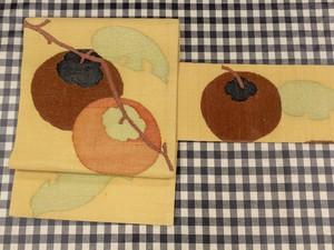 柿 切りビロード名古屋帯