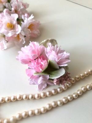 ふんわりピンク八重桜コサージュ c20-1
