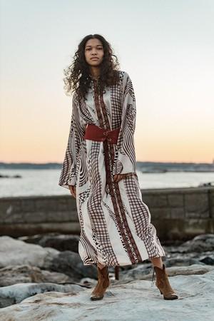 70s moroccan white × brown × black fringe foody long dress ( ヴィンテージ モロッコ ホワイト × ブラウン フリンジ フード ワンピース )